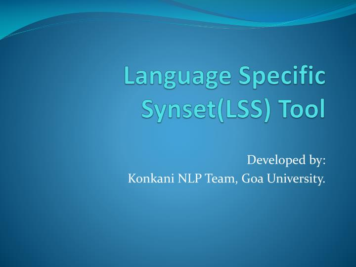 language specific synset lss tool n.