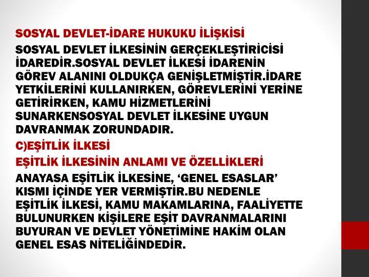 SOSYAL DEVLET-İDARE HUKUKU İLİŞKİSİ
