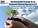recommended strategy for an integrated national approach to ee