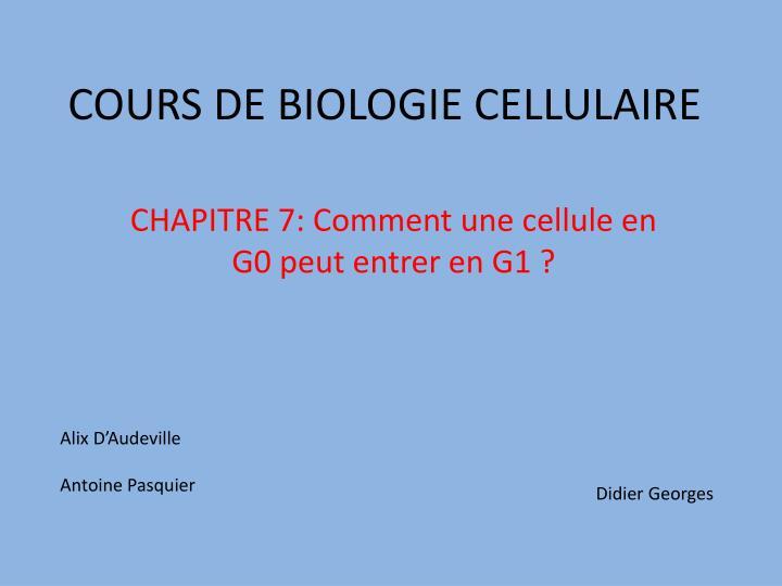 cours de biologie cellulaire n.
