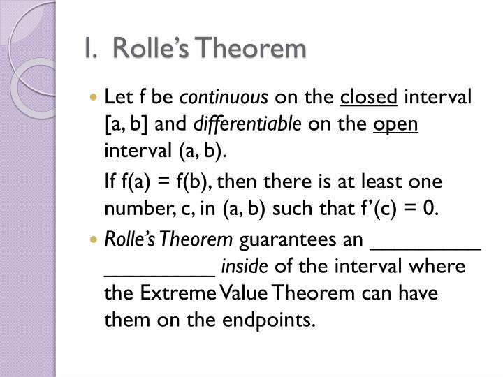 I rolle s theorem