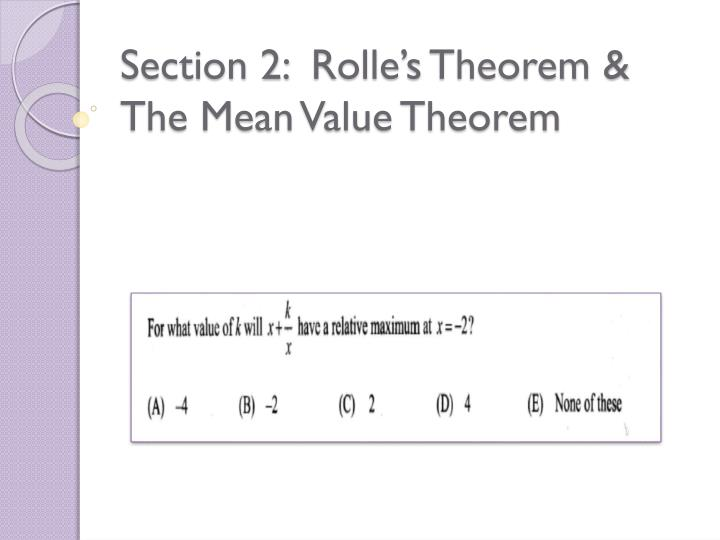 Section 2 rolle s theorem the mean value theorem