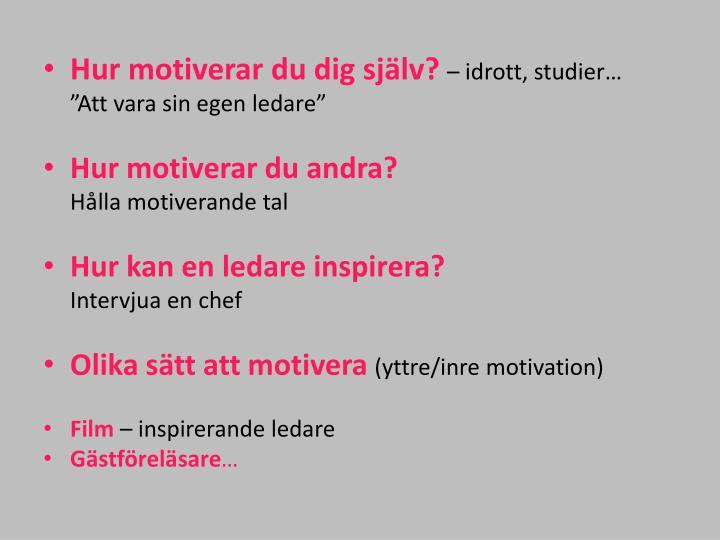 Hur motiverar du