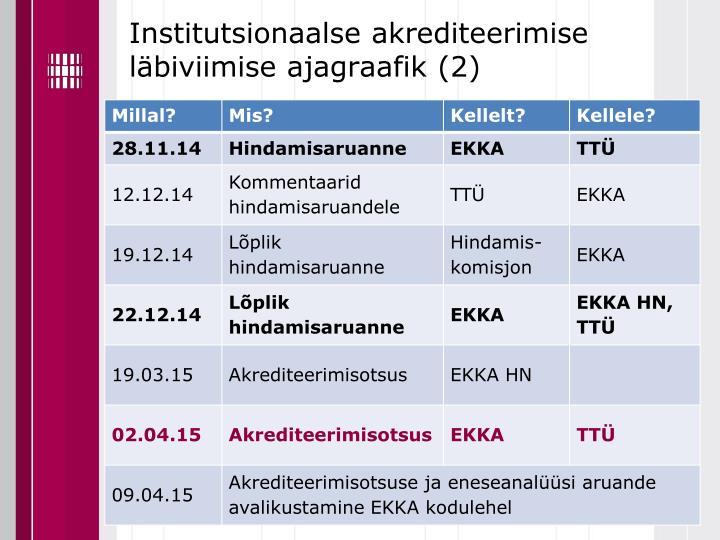 Institutsionaalse akrediteerimise läbiviimise ajagraafik (2)
