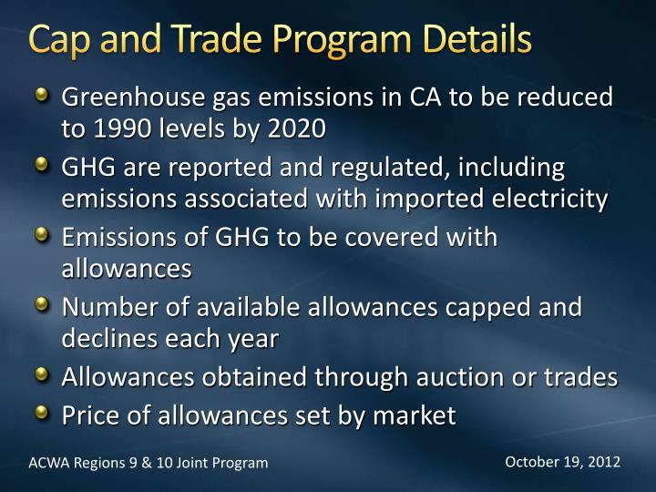 Cap and Trade Program Details