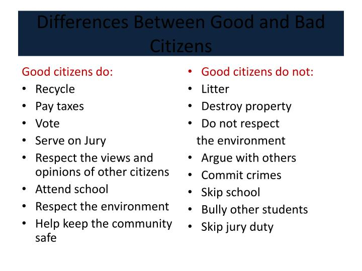 Differences Between Good and Bad Citizens