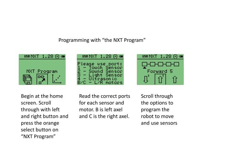 "Programming with ""the NXT Program"""
