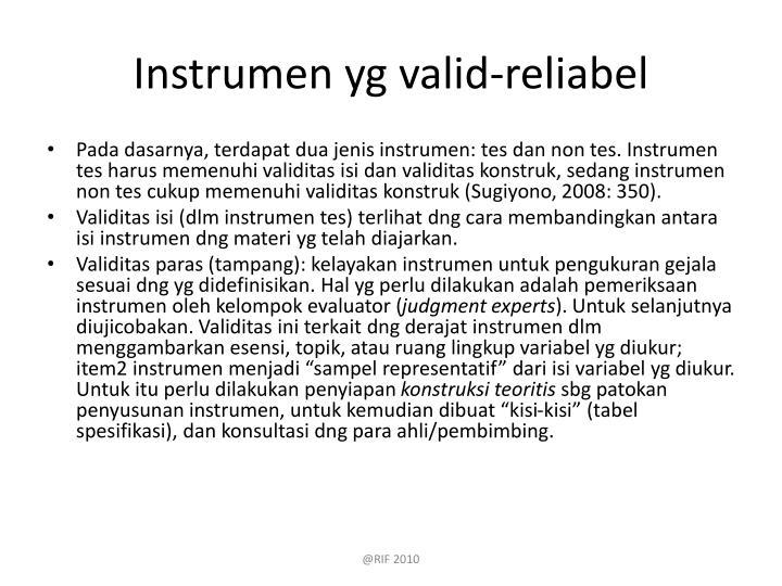 Instrumen yg valid-reliabel