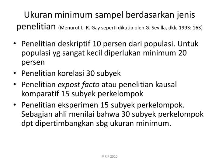Ukuran minimum sampel berdasarkan jenis penelitian
