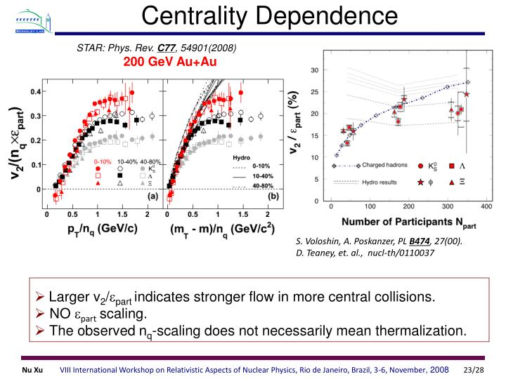 Centrality Dependence