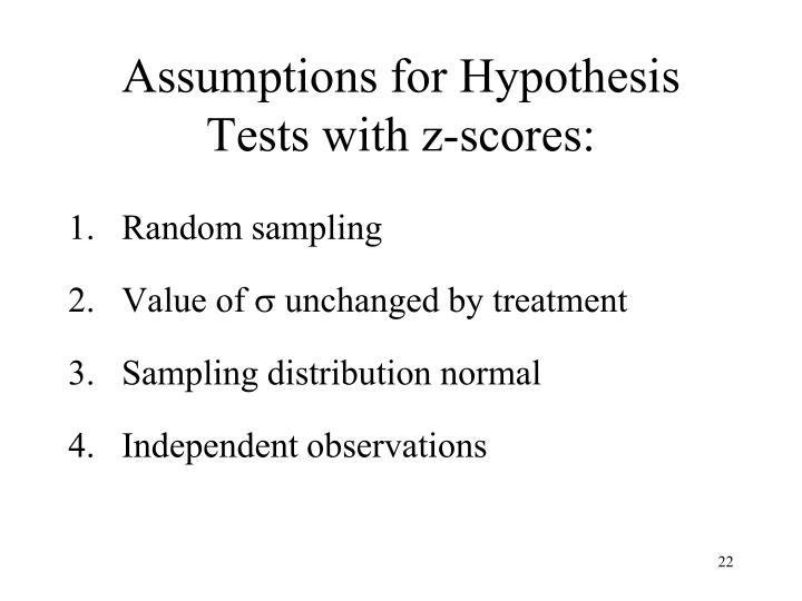 Assumptions for Hypothesis Tests with z-scores: