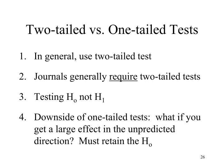 Two-tailed vs. One-tailed Tests