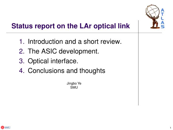 status report on the lar optical link n.