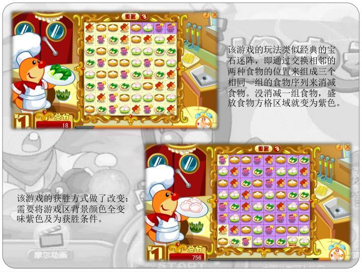 该游戏的玩法类似经典的宝石迷阵,即通过交换相邻的两种食物的位置来组成三个相同一组的食物序列来消减食物。没消减一组食物,盛放食物方格区域就变为紫色。