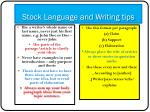 stock language and writing tips