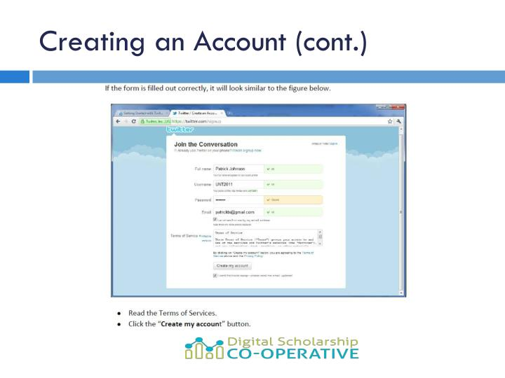 Creating an Account (cont.)