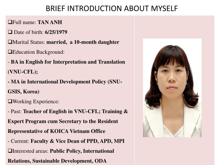 brief introduction about myself n.