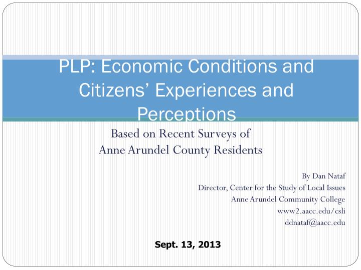 plp economic conditions and citizens experiences and perceptions n.