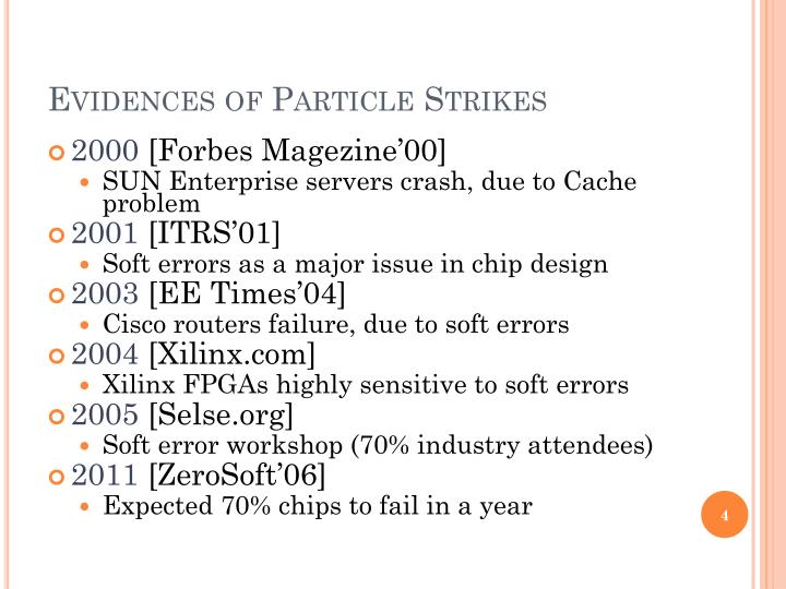 Evidences of Particle Strikes