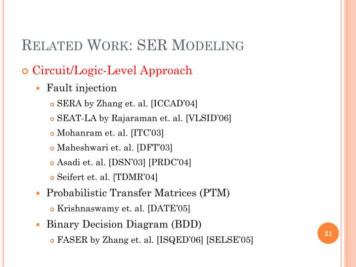 Related Work: SER Modeling