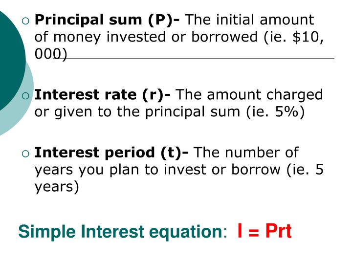 Simple Interest equation