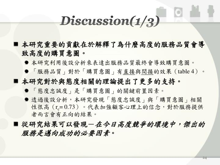 Discussion(1/3)