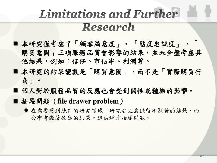 Limitations and Further Research