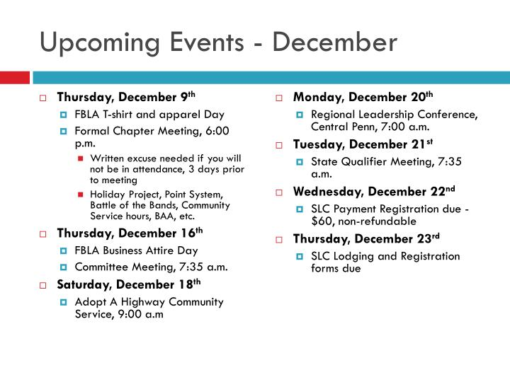 Upcoming Events - December