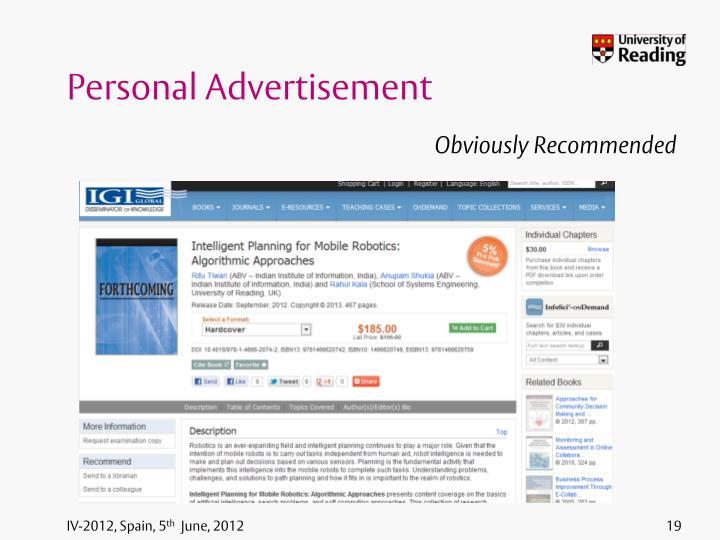 Personal Advertisement