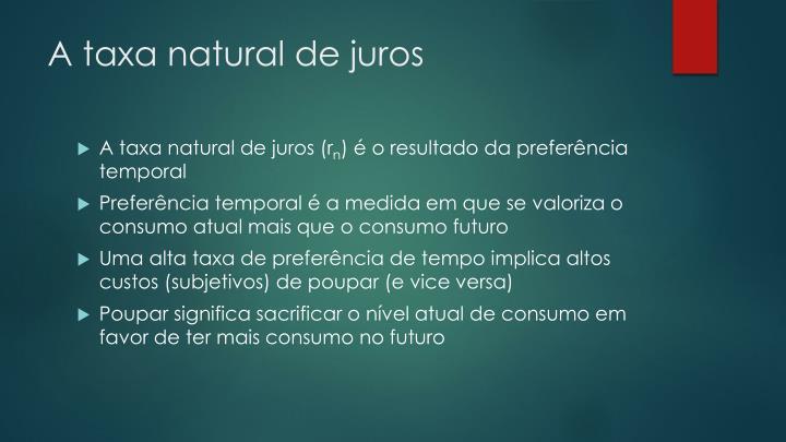 A taxa natural de juros