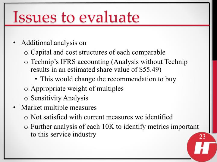 Issues to evaluate