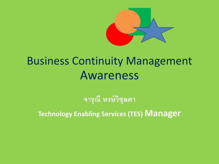 Business continuity management awareness