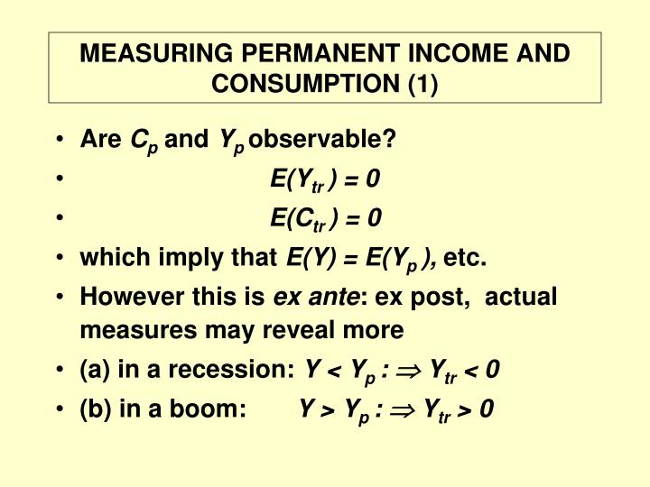 MEASURING PERMANENT INCOME AND CONSUMPTION (1)
