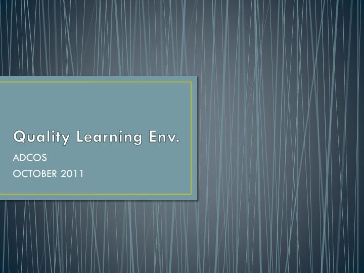 quality learning env n.