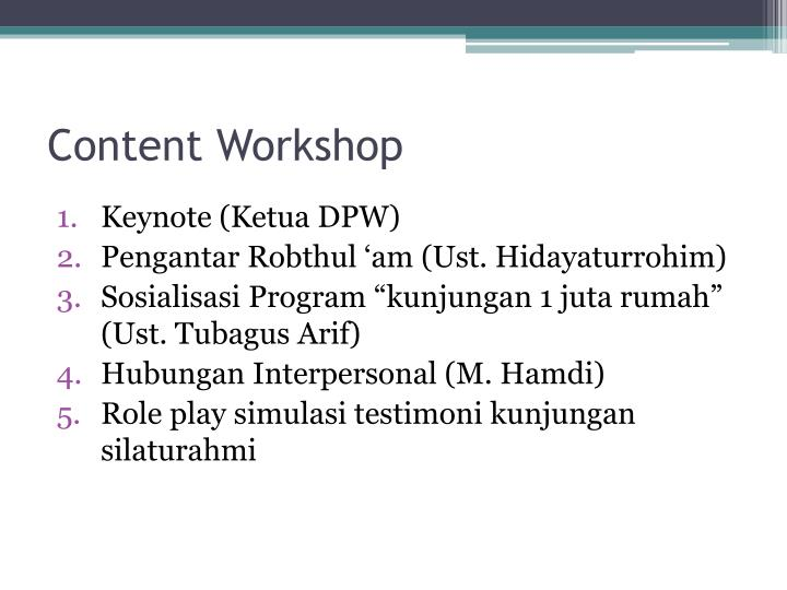 Content Workshop