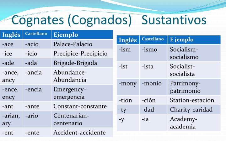 Cognates cognados sustantivos