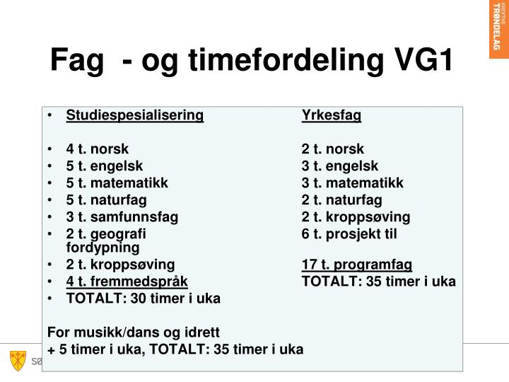 Fag  - og timefordeling VG1