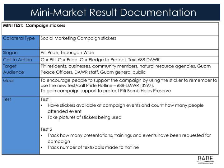 Mini market result documentation