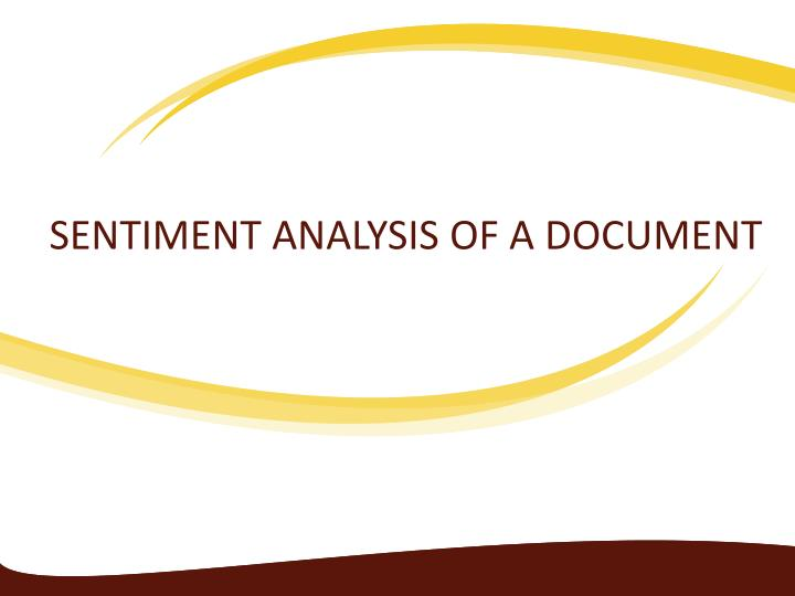 sentiment analysis of a document n.