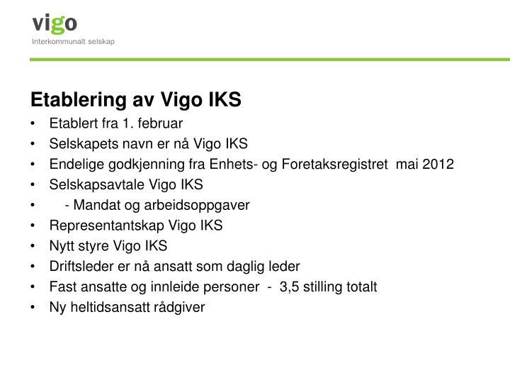 Etablering av Vigo IKS