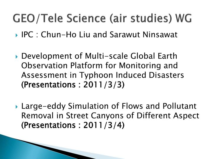 geo tele science air studies wg n.