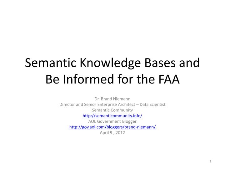 semantic knowledge bases and be informed for the faa n.