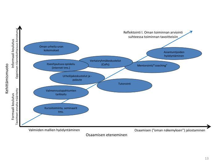 Reflektointi l. Oman toiminnan arviointi suhteessa toiminnan tavoitteisiin