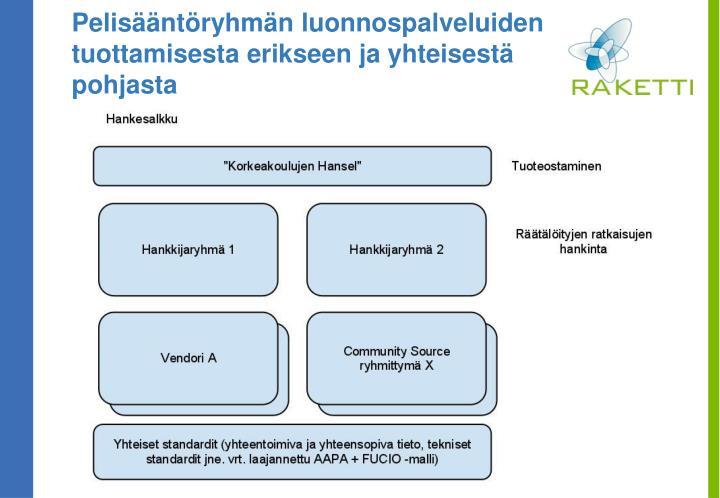 Pelisääntöryhmän luonnospalveluiden tuottamisesta erikseen ja yhteisestä pohjasta