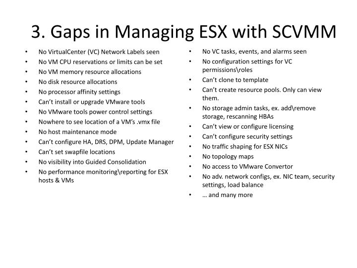 3 gaps in managing esx with scvmm