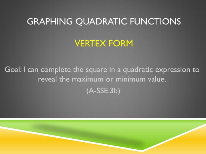 Ppt Graphing Quadratic Functions Vertex Form Powerpoint