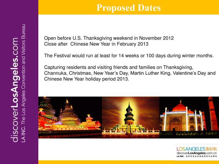Proposed Dates