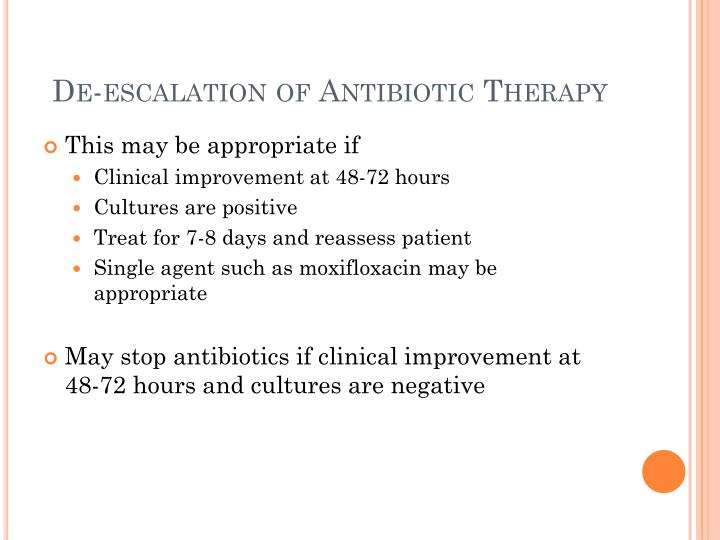 De-escalation of Antibiotic Therapy