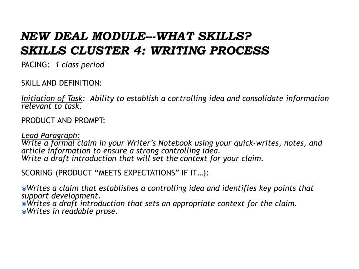 NEW DEAL MODULE---What Skills?