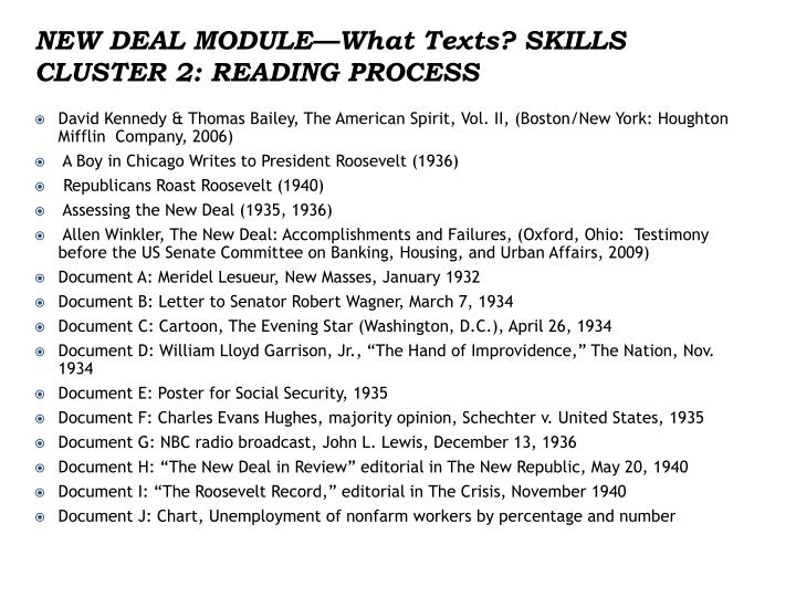 NEW DEAL MODULE—What Texts?